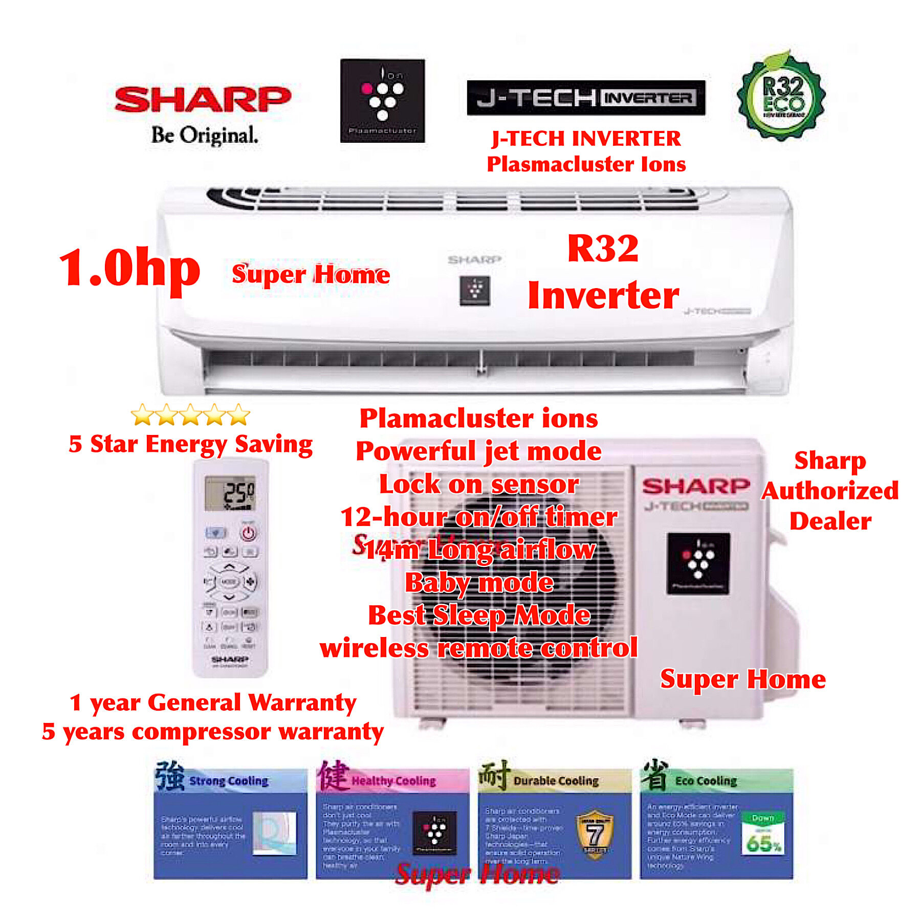 Sharp J-Tech Inverter Plasmacluster Ions AHXP10WMD & AUX10WMD 1.0hp Inverter Air-Conditioner - R32 Aircond - 5 star Energy Saving