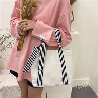 New Women Canvas Bag Fashion Cloth Bag - Large Capacity Simple Handbag Girls Bowknot Shoulder Bag Casual Shopping Bag thumbnail