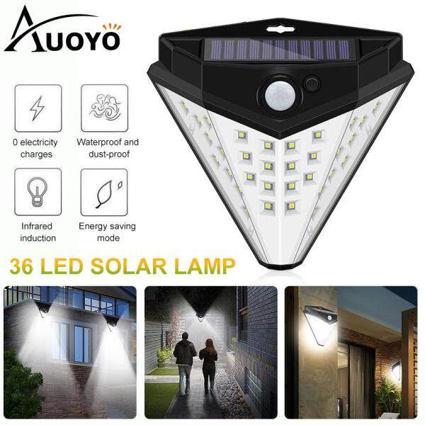 Auoyo 36 Đèn Năng Lượng Mặt Trời Outdoor Lighting Wireless Sensor ĐÈN BÀN of 4 Sides with Wide Lighting Area Waterproof Security Lights Super Fashion Diamond Shape for Front Door Garden Street Yard