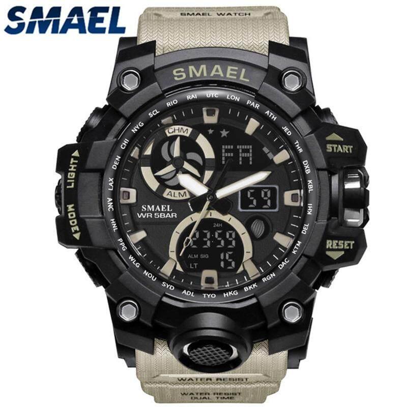 SMAEL Top Luxury Brand Mens Fashion Sports Quartz Watch Men LED Dual Display Digital Electronic Watches Waterproof Military Watch Malaysia