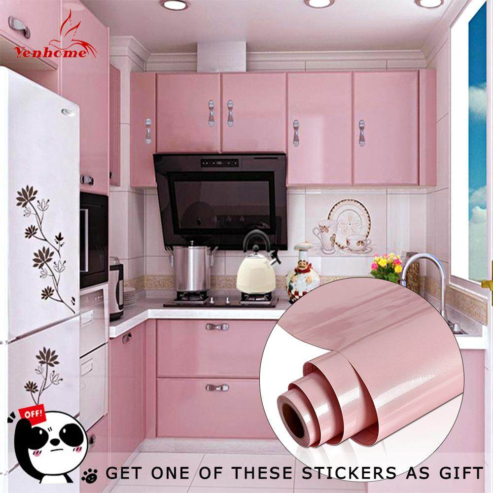 Yenhome High Glossy Light Pink Vinyl Contact Paper for Cabinets Kitchen Countertops Peel and Stick Shelf Liner Waterproof Removable Wallpaper 40cm*1m