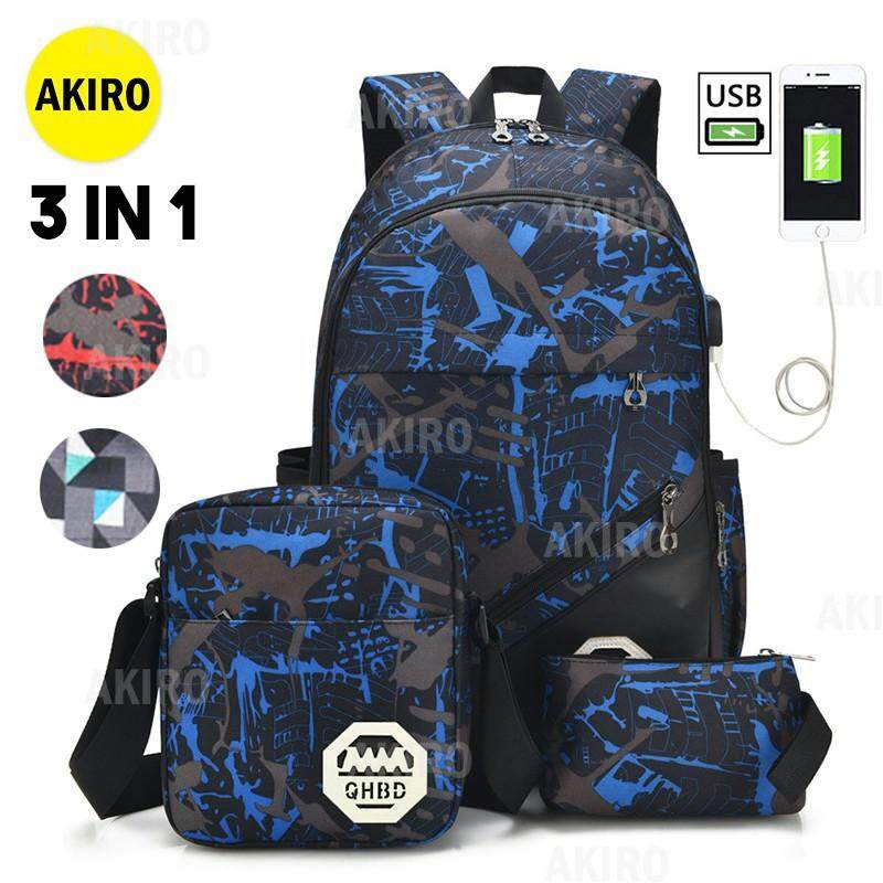 #READY STOCK# in 1 Korean USB Charging Port Laptop Backpack Shoulder Bag Pen Case Set 9931 WW