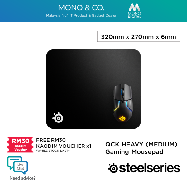 Steelseries QCK Heavy Cloth Gaming Mousepad (M / L / XXL) Mouse Pad [63836/63008/67500] - Free RM30 KAODIM VOUCHER Malaysia