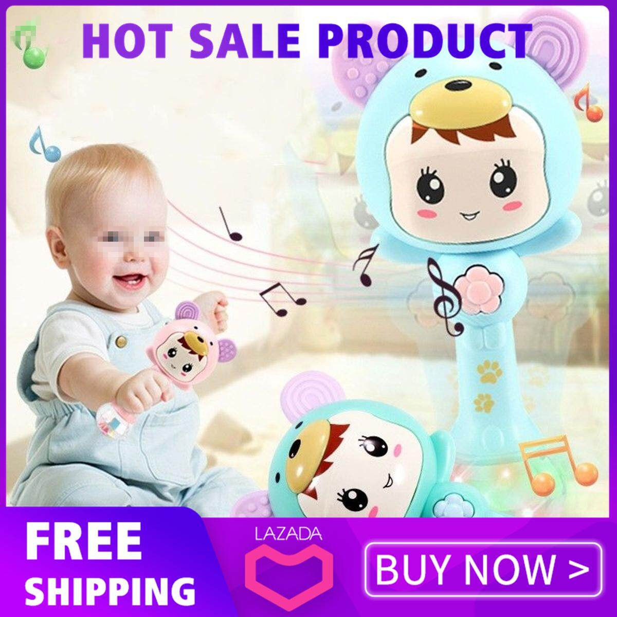 【free Shipping】newborn Early Learning Toy Infant Kids Baby Cartoon Musical Rattle Teether Stick By Glimmer.