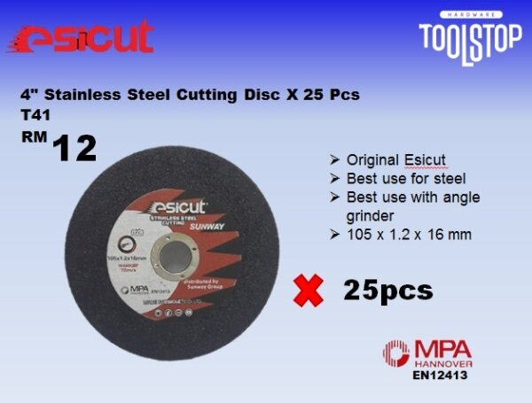 Esicut 4 inch Stainless Steel Cutting Disc x 25pcs