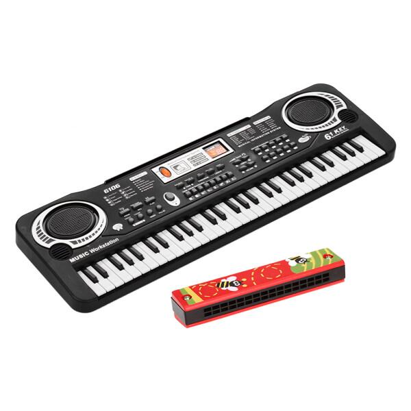 Bàn Phím Đàn Piano Kỹ Thuật Số Điện Tử 61 Phím Có Loa Kép Micro USB/Powered + Kèn Harmonica Tremolo 16 Lỗ Dụng Cụ Âm Nhạc Cho Trẻ Em Đồ Chơi Giáo Dục Vỏ Gỗ Nhạc Cụ Sậy Miễn Phí Nhiều Màu Sắc