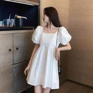 Đầm Nữ IELGY Cổ Vuông Kiểu Pháp Màu Xanh Da Trời Mặc Hàng Ngày Nhỏ Nhắn Phong Cách Hàn Quốc Thời Trang Hoa Chuông thumbnail