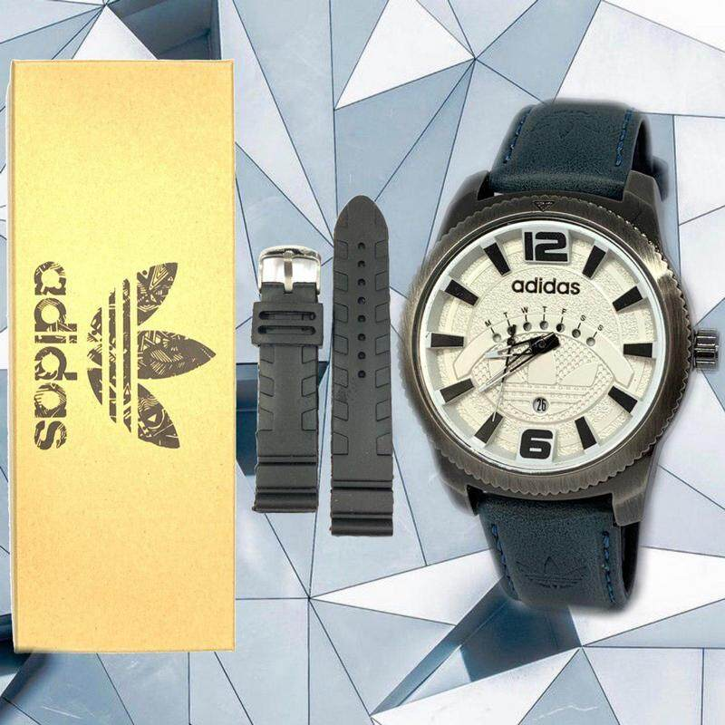 Sport_ADIDAS_Anologue Good Quality Leather Strap Day & Date Display Watch For Unisex With 1 Extra Rubber Strap Full Set With Genuine Gift Box Ready Stock Malaysia