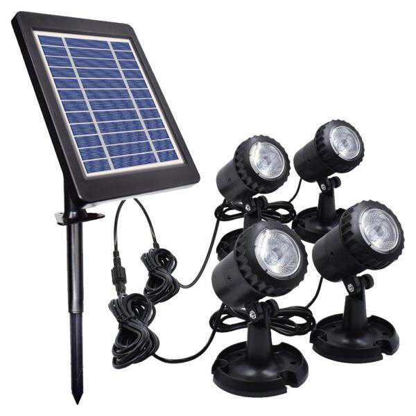 LEDs Pool Lights Waterproof Solar Powered Garden Pond Light Pathway Walkway Lawn Backyard Lighting Outdoor Security Landscape Lamp (Four Bulb)