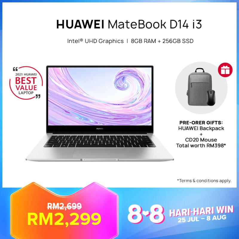 [Pre-Order 27 July – 8 August] HUAWEI MateBook D14 i3 Laptop   8GB + 256GB   Intel CoreTM i3-10110U Processor   FREE Mouse + Backpack, Free Shipping [ETA: 9 August] Malaysia
