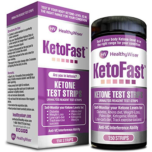 HealthyWiser Ketone Urine Test Strips 150ct - Made in USA - Easy to Read Sensitive Ketogenic Urinalysis Testing Sticks - Daily Ketones Measurement - Keto Strips Ideal for Atkins, Paleo Diet & Diabetes