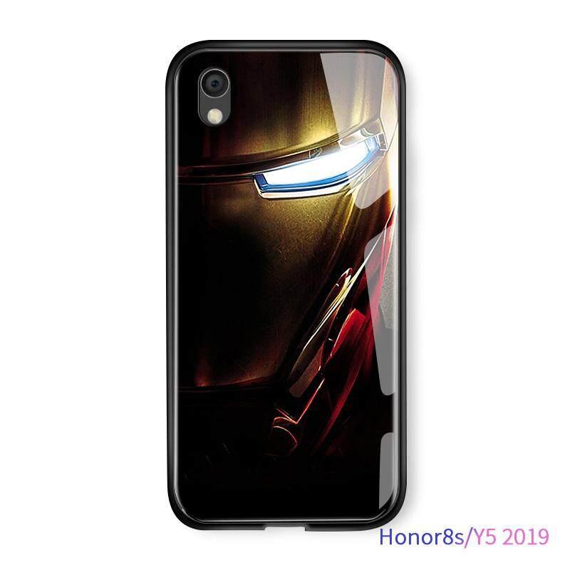 Hontinga untuk Kehormatan Y5 2019 8 S Marvel Manusia Super Avenger Ironman Robert Downey Amour Casing Gradient Cover Sarung HP Kaca Keras Casing