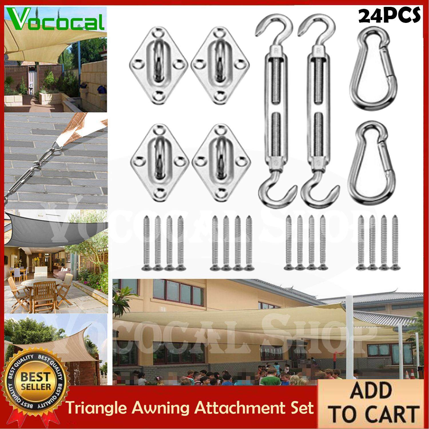 【In stock】Vococal 24PCS Triangle Awning Attachment Mounting Kits for Square or Rectangle Awning Sunshade Heavy Duty Sun Shade Sail Hardware Stainless Steel Accessories Assembly Set Suspension Easy Mounting in Garden