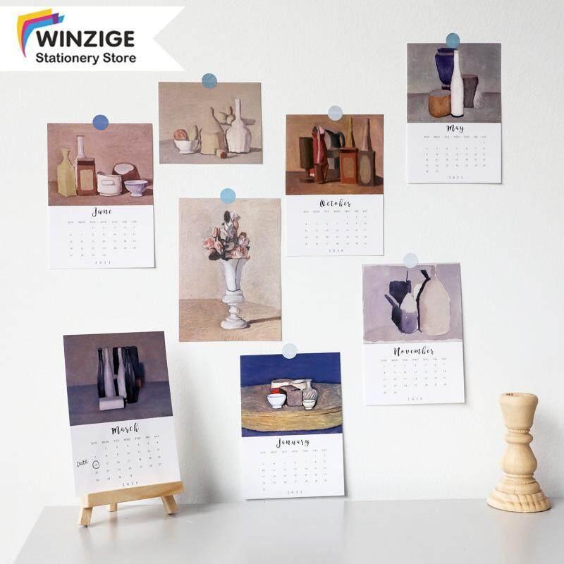Winzige 16 Thẻ Lịch Ins 2021 Trang Trí Tường Morandi Sơn Nền