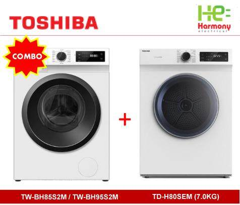 [COMBO]Toshiba 8.5kg Front Load Washer TW-BH95S2M + Toshiba 7.0kg Dryer TD-H80SEM + Free Stacking Kits SK-T01 Worth RM99 (Mesin Basuh + Pengering Baju Combo Set)