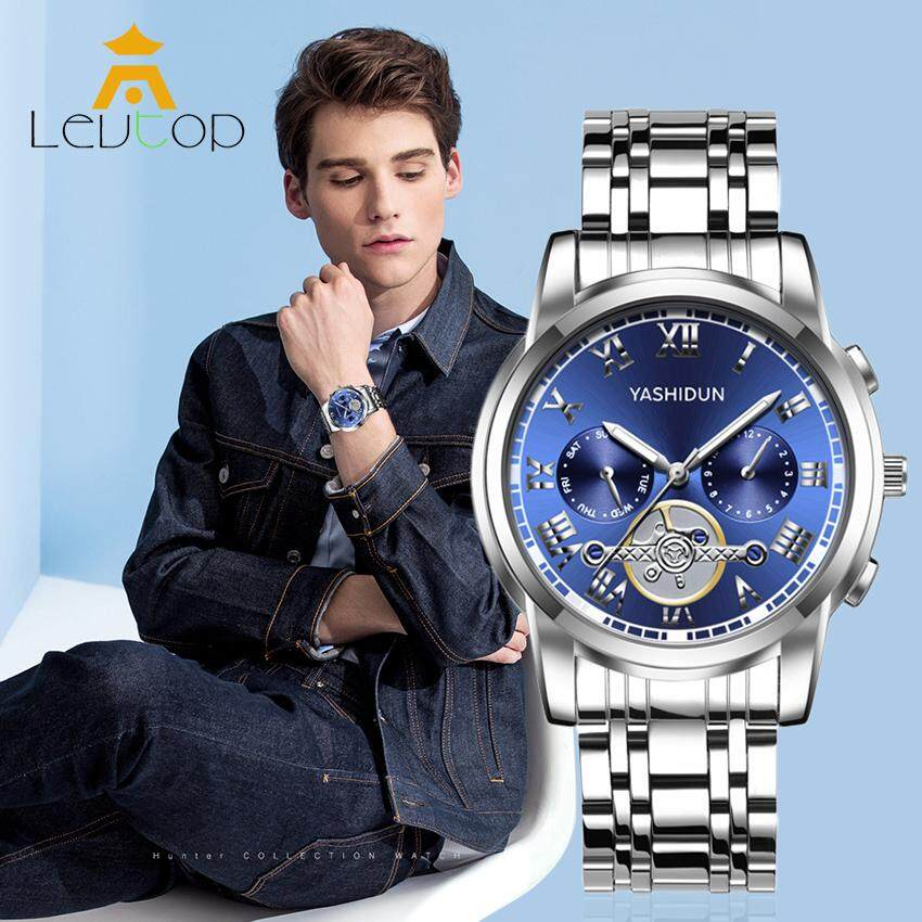 LEVTOP Fashion Men Quartz Watches Mens Commercial Steel Strip Watches 30m Waterproof Masculino Luxury Business Man Watch with Luminous Malaysia