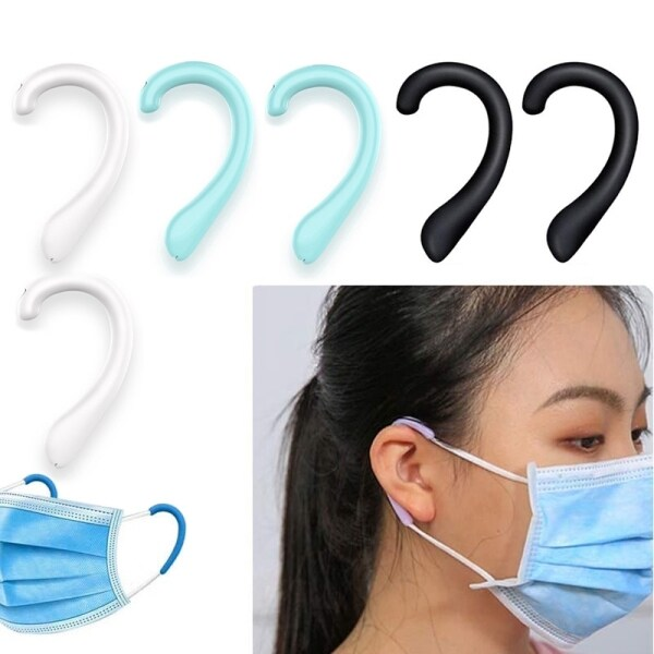 Silicone 1 pair Ear Protector Caps , Mask Ear Protectors , Anti-Slip Ear Straps Hook , Reusable Ear Protectors Non Slip Earloop Covers Silicone earmuffs Universal Mask Artifact Sleeve Silicone Earmuffs Ear Comfortable