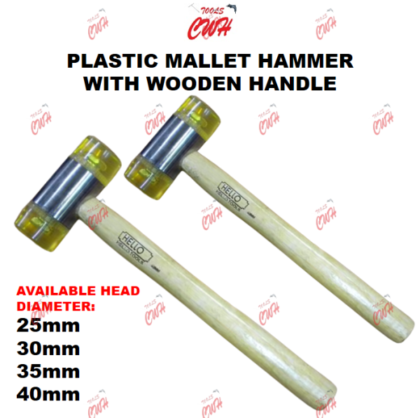 25MM 30MM 35MM 40MM PRC PLASTIC MALLET HAMMER WITH WOODEN HANDLE