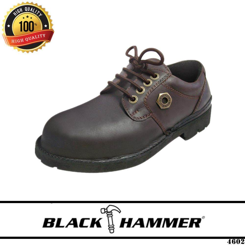 Safety Shoes Boots Steel Toe Cap Low Cut Lace Up High Quality Genuine Leather Black Hammer 4602