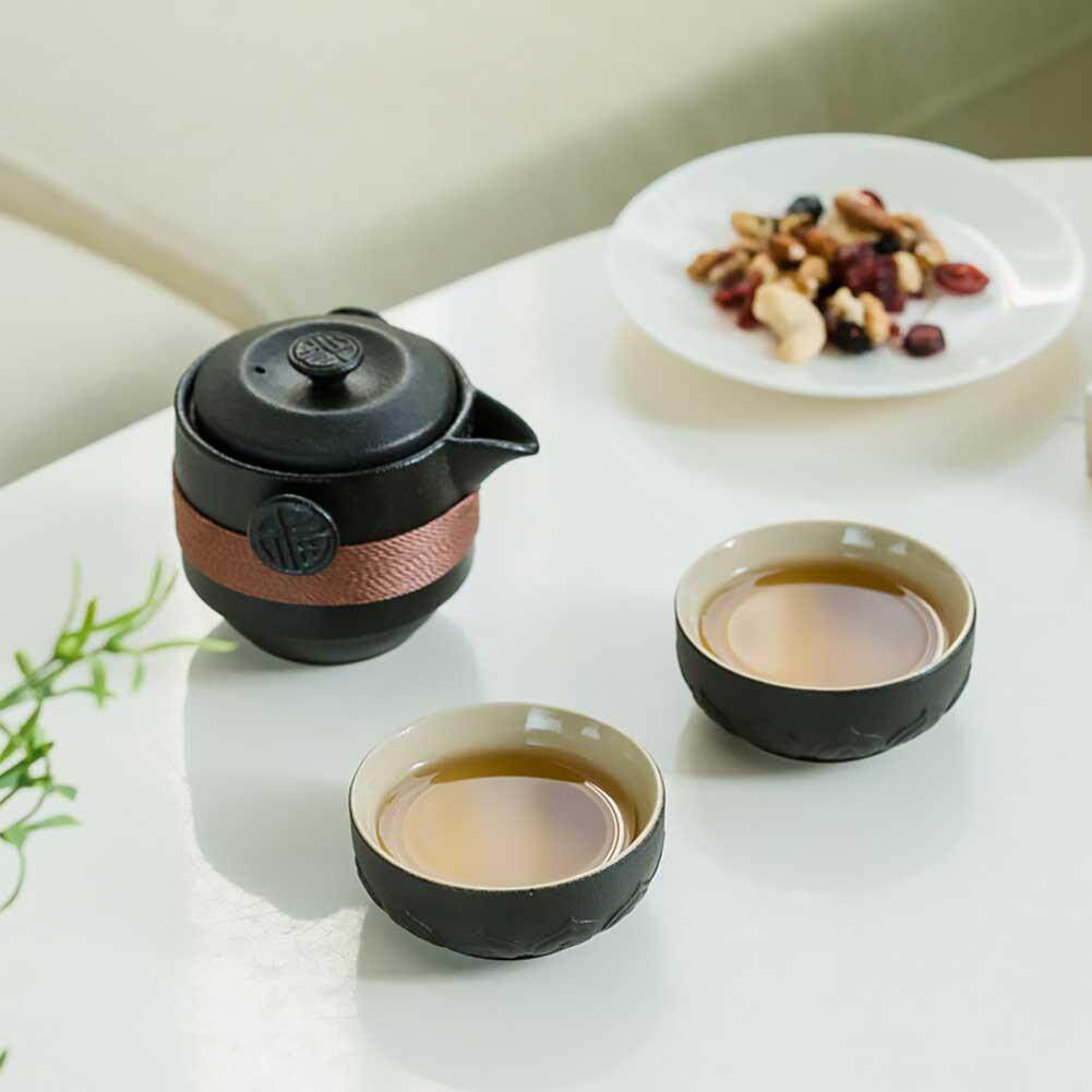 XRSSS Black Pottery One Pot Two Cups Portable Travel Home Office Kung Fu Tea Set Chinese Travel Ceramic Tea Sets