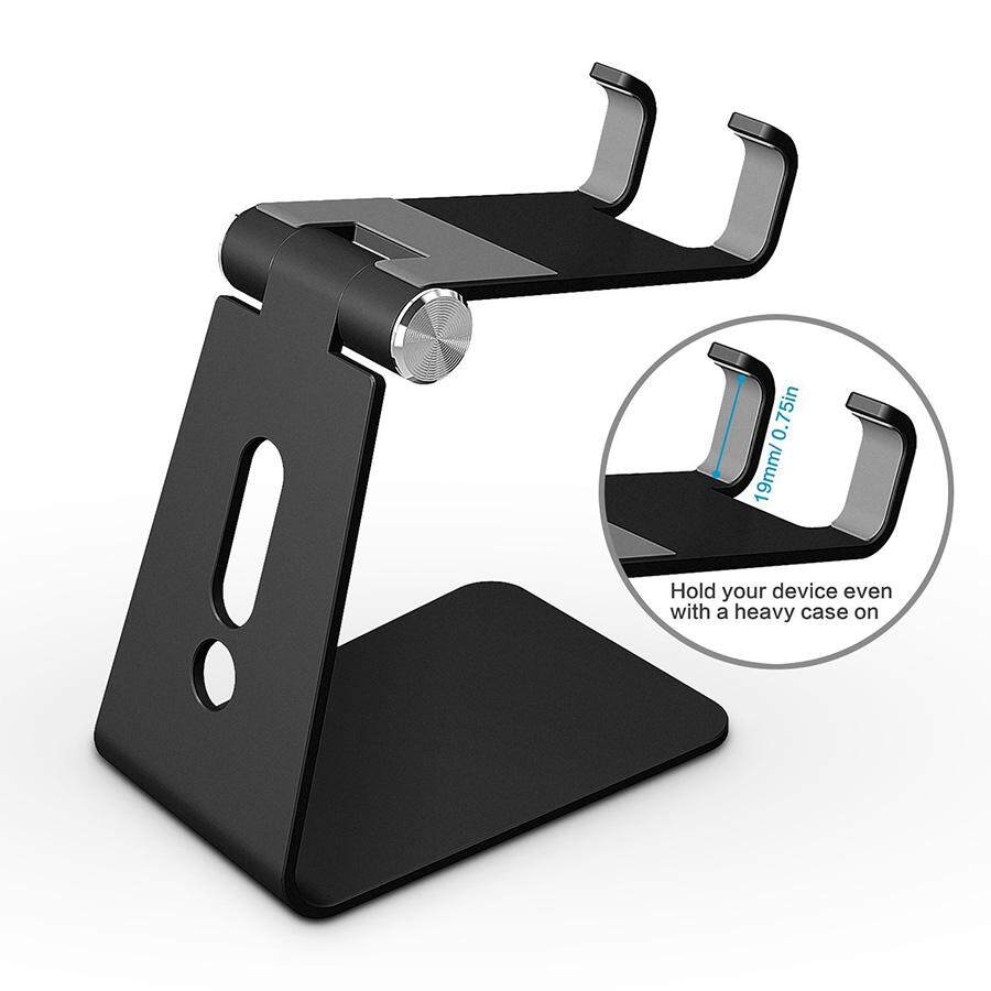 Adjustable Aluminum Desktop Cellphone Tablet Stand Holder for Cellphones Cell Phone Stand iPhone and E-Readers(Black)