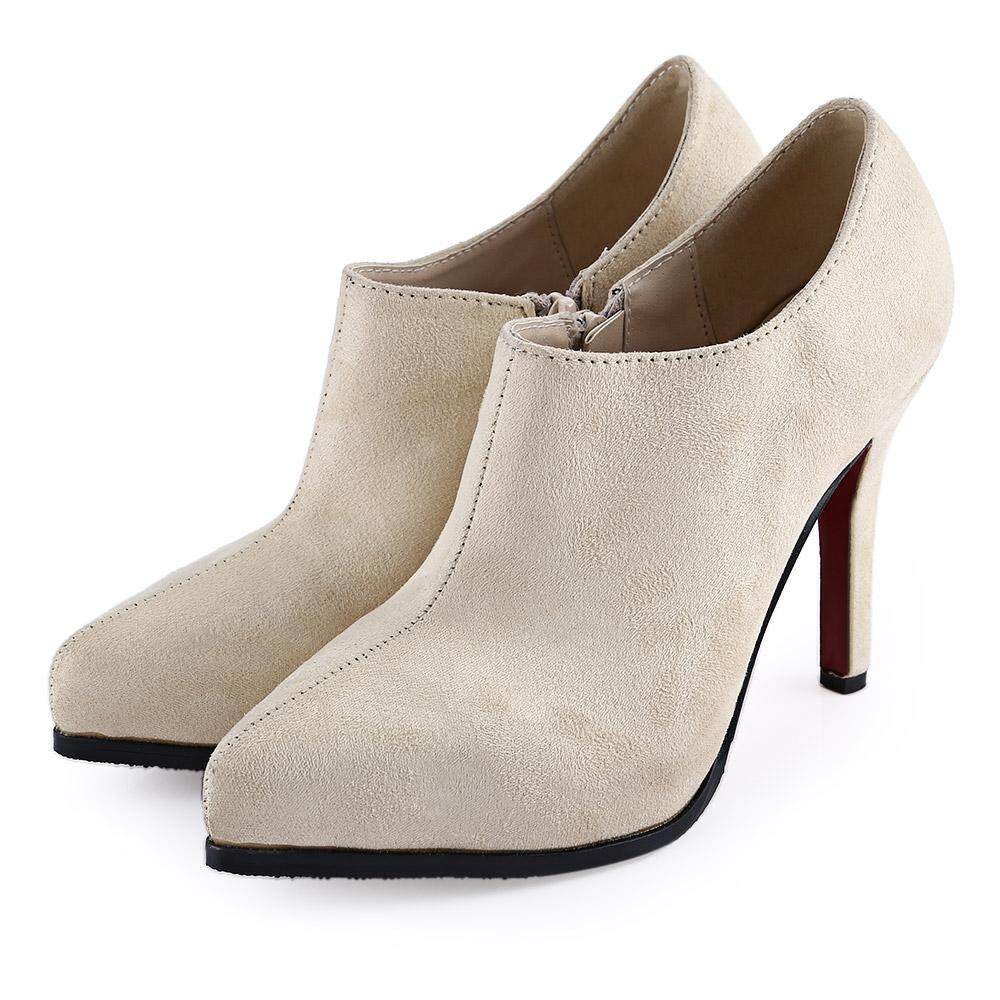 Stylish Zipper Design Pointed Toe Ladies Thin High Heel Ankle Boots 382e2d950c7c7