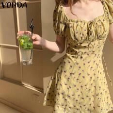 (Phong Cách Hàn Quốc) VONDA Đầm Nữ Đi Biển Ngắn Tay In Hoa Cổ Điển Đầm Chữ A Mini Dáng Rộng