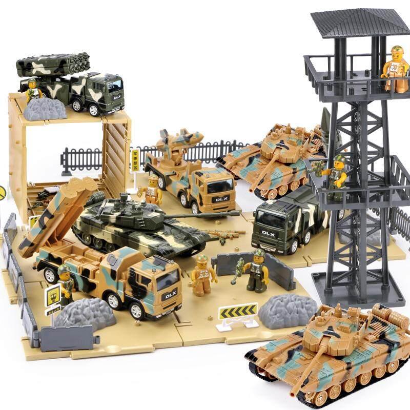 Giá Cực Tốt Để Sắm Children's Large Military War Scene Model Set Boy Battle Toy Car Watchtower Tank Car Missile Car