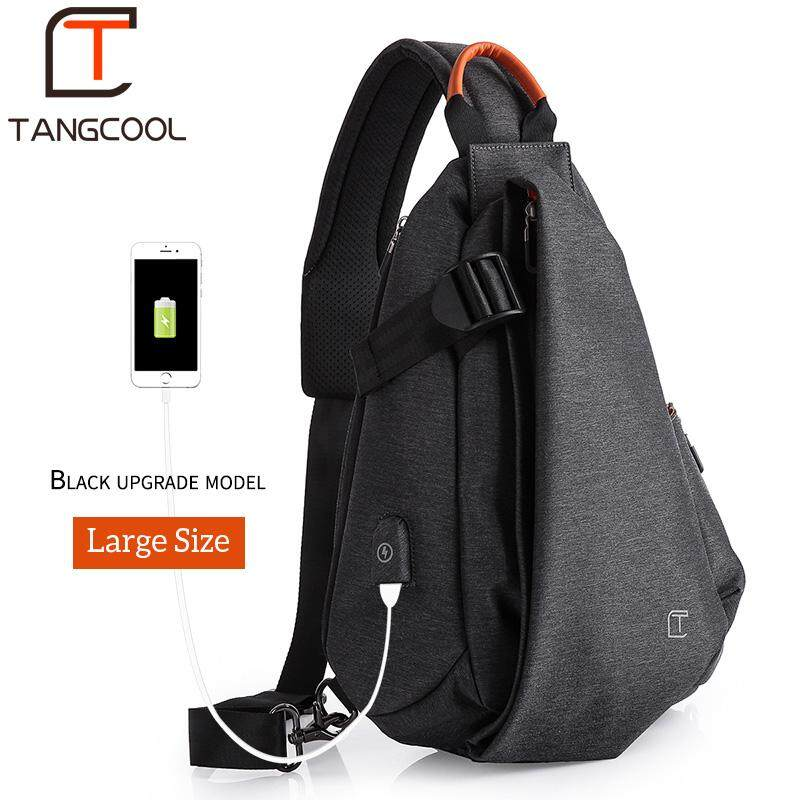TangCool USB Waterproof Oxford 9.7-Inch Chest Bag Anti-theft Business Bag Casual Crossbody Bag Fashion Travel Bag Multifunction Messenger Bag Short Trip Sling Shoulder Bag (Large Size)