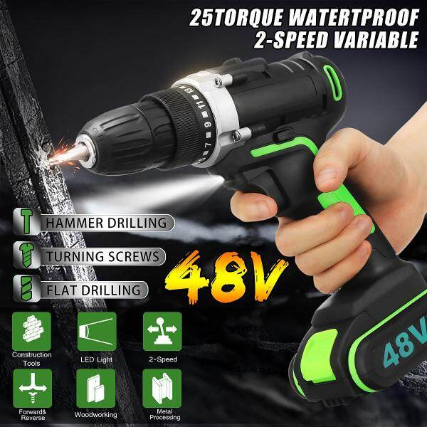 【Elfeland】48V 15+1Torque 3-Stage Brushless Double Speed Cordless Drill Waterproof Electric Drill (LED Lighting )(With:1Pcs Rechargeable Power Supply )