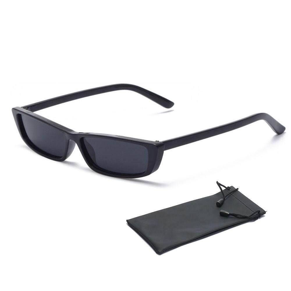 Nicetoempty Kecil Kacamata Persegi Panjang Trendi Kacamata Hitam Ramping Berwarna Futuristik Kacamata Tembus Pandang Wanita Steampunk