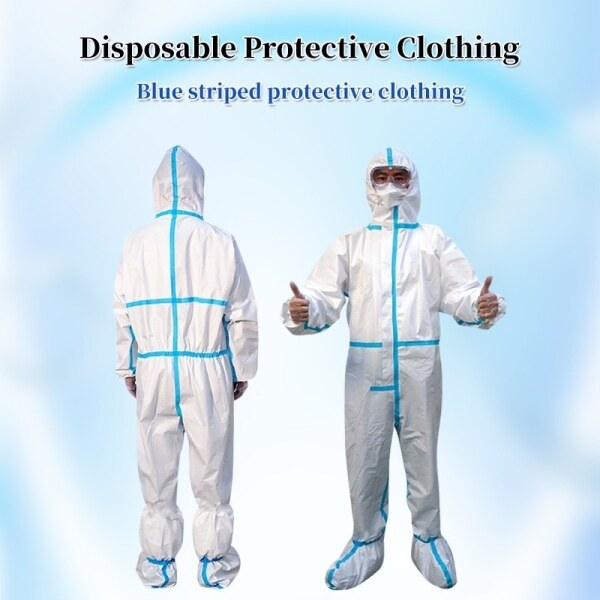 Medical protective clothing Ready Stock Hazmat Baju PPE Isolation Suit Coverall Jump Suit PP Non Woven Disposable protective clothing