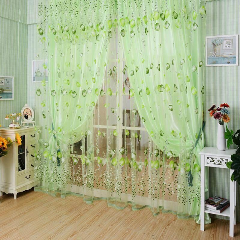 Hoa Tulip Sợi Sheer Window Rèm Hạt Cửa Khăn Quàng Cho Phòng Ngủ
