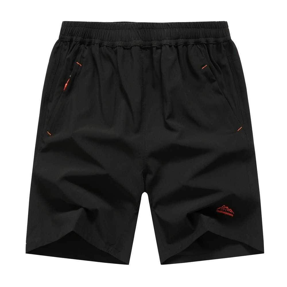 Men Running Fitness Sports Quick Dry Pants Pure Color Loose Breathable Shorts with Pockets (#1)