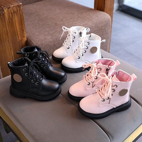 Giày Trẻ Em Bốt Da Ngắn Cho Bé Gái Bốt Martin Thường Ngày Cho Bé Trai Mùa Thu 2020 Thời Trang Anh Quốc Mới 1-2-3 Tuổi giá rẻ