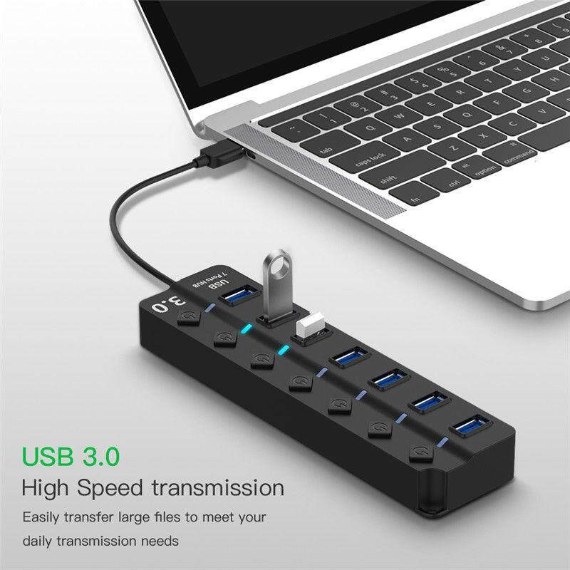 USB 3.0 Hub 4/7 Port USB 3.0 Hub 5Gbps High Speed On/Off Switches AC Power Adapter for PC