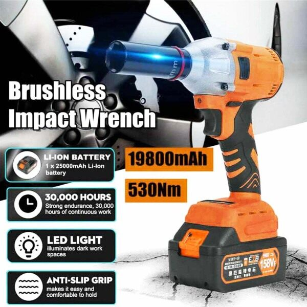 530Nm 158VF Cordless Impact Wrench with Charger and Battery