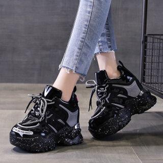 Giày thể thao tăng chiều cao đế xuồng phong cách Hàn Quốc dành cho nữ giày đế bệt nâng chiều cao giày thể thao kiểu dáng giản dị ( tăng 10cm 3.5 inch) - INTL thumbnail