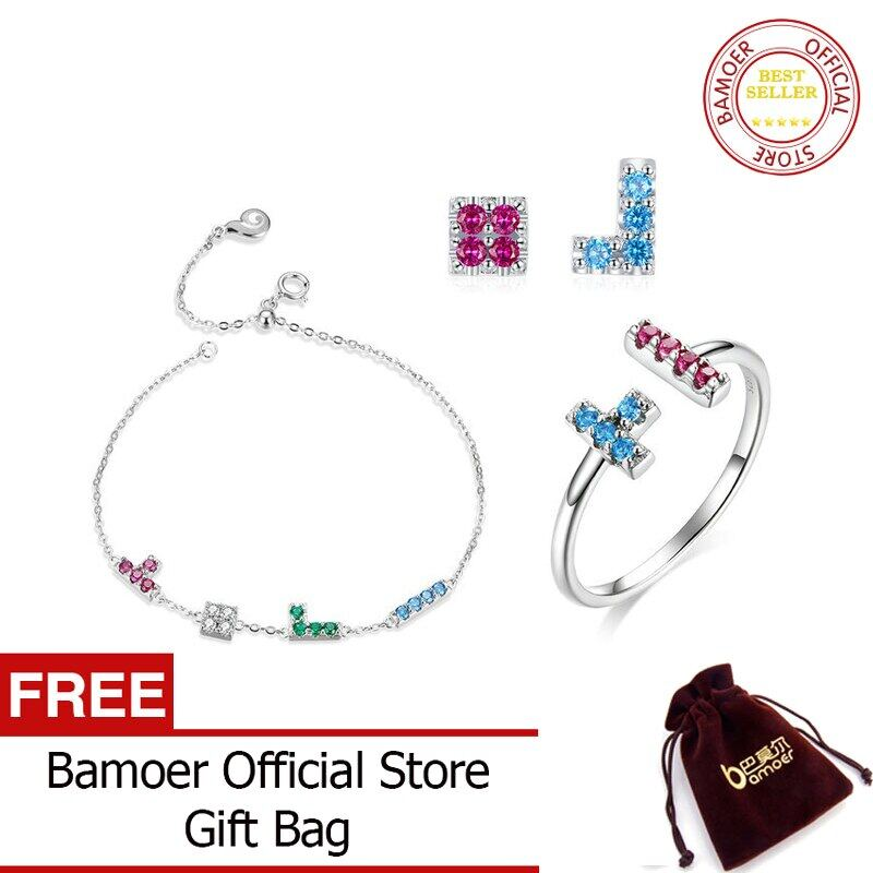 Bamoer 925 Sterling Silver Jewelry Sets Childhood Tetris Game Bracelet Ring And Earrings Sets Statement Jewelry Zhs197.