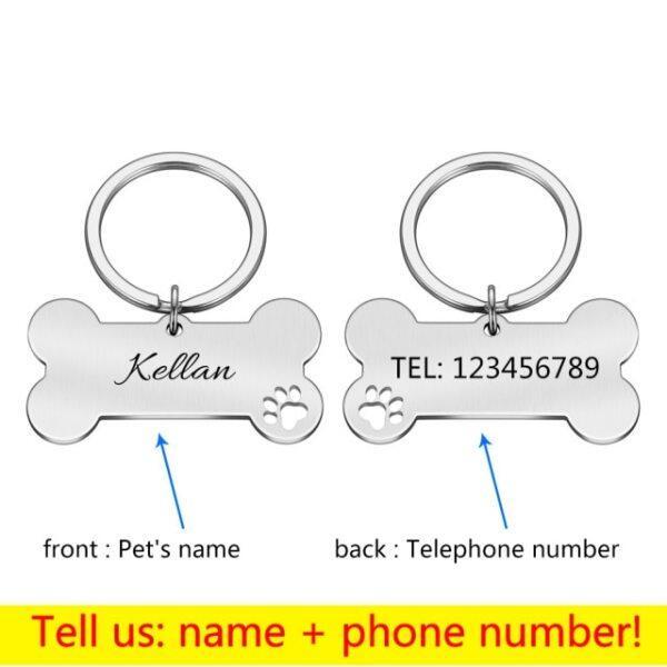 DHCYJSM, Móc Khóa Thẻ ID Thú Cưng Cá Nhân Hóa Tên ID Thú Cưng Khắc, Cho Chó Con Mèo Mặt Dây Chuyền Thẻ Cổ Áo Móc Khóa Phụ Kiện Xương Cho Thú Cưng