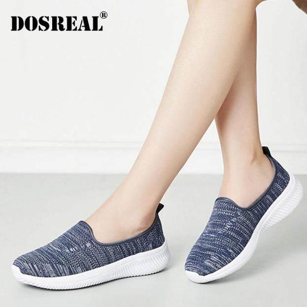 Dosreal Giày Cho Nữ Đan Mút Chạy Bộ Nữ Trơn Trượt Trên Giày Đế Bằng Nữ Size Lớn 35-41 Cho Nữ Đế Bằng giày Đi Bộ giá rẻ