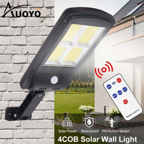 Auoyo LED Solar Lights Outdoor Lighting 3 Modes Remote Control 4/6 COB Wall Light Motion Sensor Lamp IP65 Waterproof Wall Lamp Solar Powered Lights Adjustable for Front Door Pathway Garden Yard