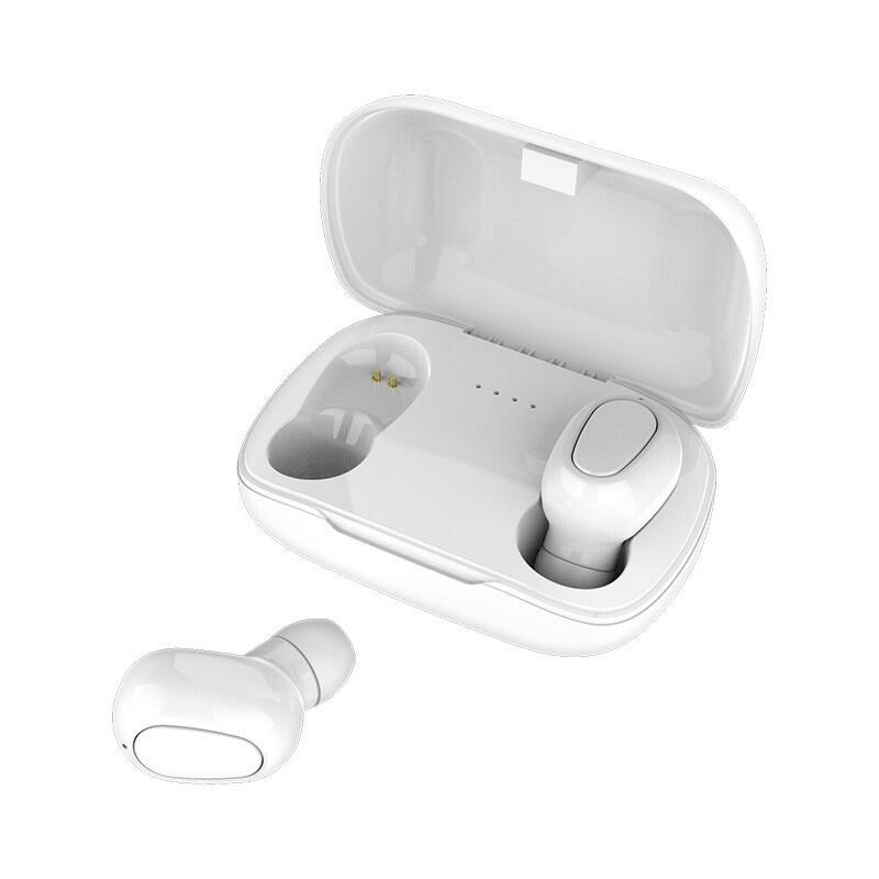 L21 True HIFI ไร้สายบลูทูธ 5.0 ชุดหูฟังกีฬาฝาแฝดหูฟัง 3D หูฟังสเตอริโอแบบพกพาแม่เหล็กชาร์จกล่องหูฟังสำหรับ iPhone ซัมซุงหัวเว่ย OPPO VIVO Xiaomi สี ขาว