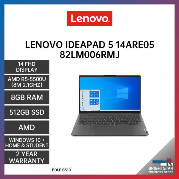 LENOVO IDEAPAD 5 14ARE05 82LM006RMJ LAPTOP GREY 14 FHD / AMD R5-5500U / 8GB / 512GB SSD / AMD / 2 YEARS WARRANTY + Free Additional 6 Month Warranty Malaysia