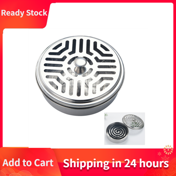 [Ready Stock] Round Mosquito Coil Holder Stainless Steel Mosquito Coil Disk Portable Mosquito Coil Tray with Hollow Cover