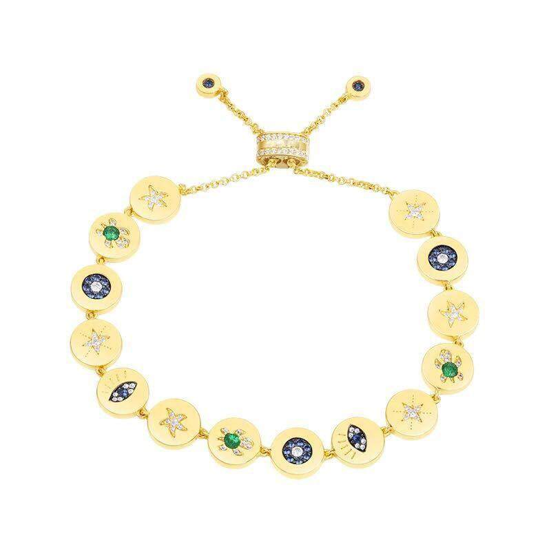 APM 925 Sterling Silver Yellow Gold Color Coin inlay Zircon Lucky Symbol Eye Sea Turtle Star Chain Bracelet Luxury Jewelry