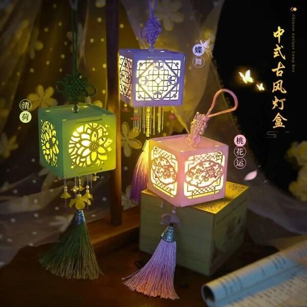 中秋节花灯灯笼Lanterns Giữa Mùa Thu, Dành Cho Trẻ Em, Đèn Lồng Lễ Hội Đèn LED Đèn Lồng Đèn Trang Trí Đèn Lồng Truyền Thống Trung Quốc Thủ Công Tự Làm Hộp Quà Tặng