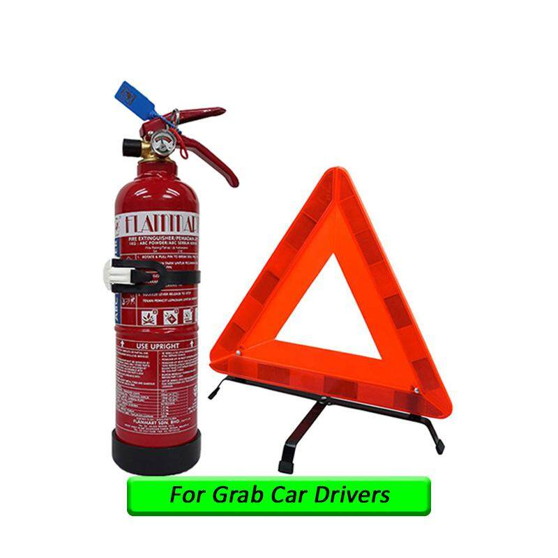 EzSpace 1Kg Fire Extinguisher Flammart Sirim Puspakom Ready Year 2019 Production And Reflective Triangle Road Warning Sign For Grab Car Drivers Taxi Vehicle Pemadam Api Set Untuk Kereta Grab
