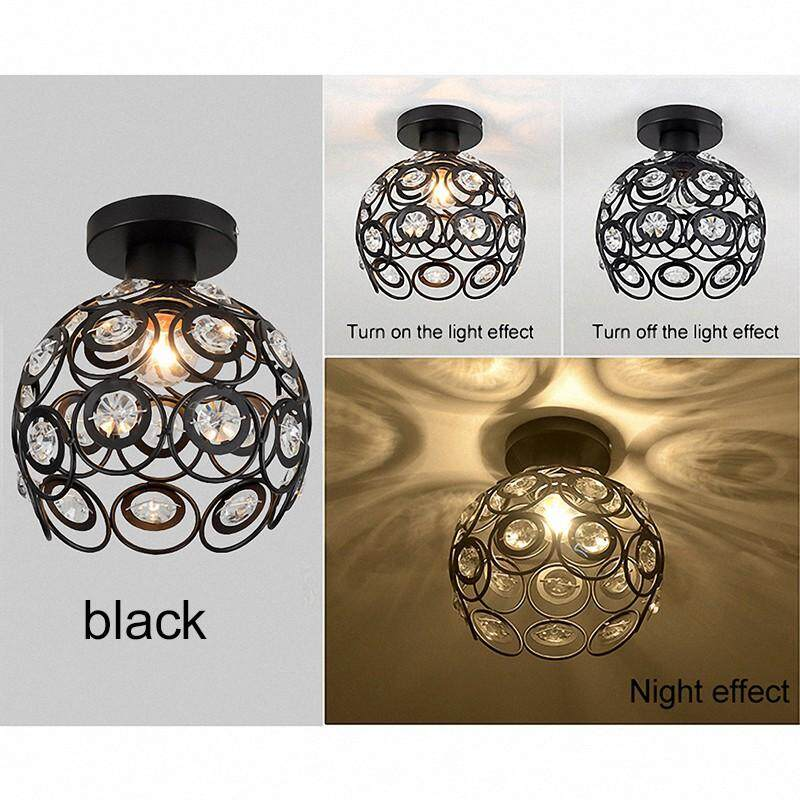 E27 Black Crystal Minimalist Ceiling Light Single Wall Ceiling Lamp