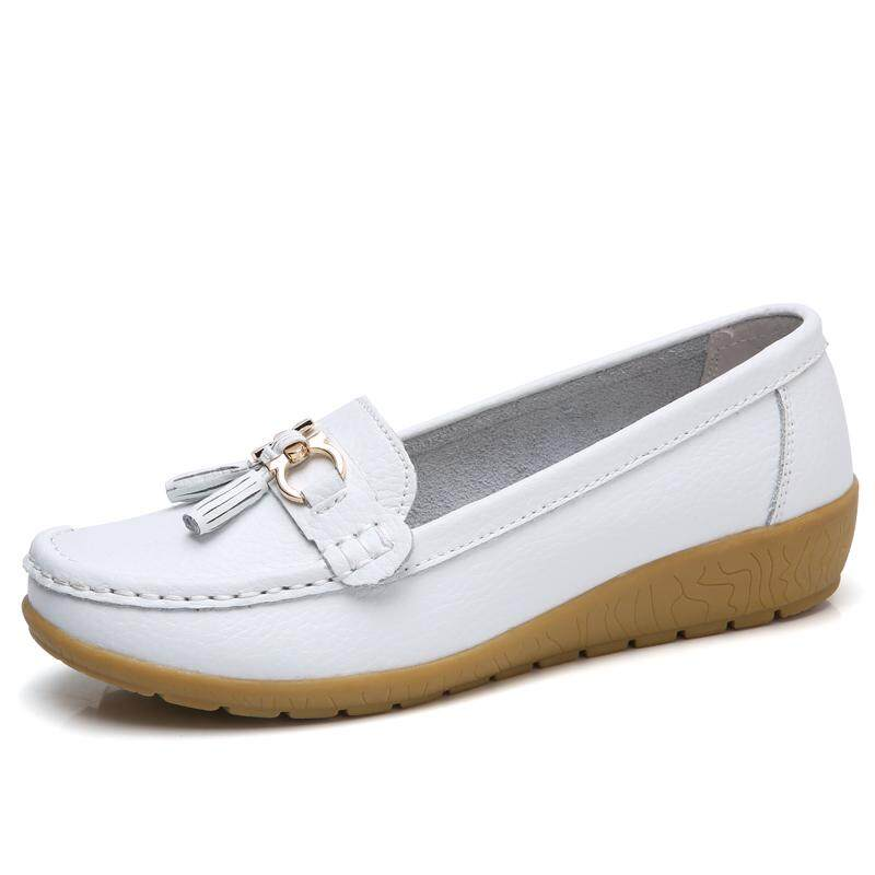 6eab9a008bbda Plus Size 35-44 Flat shoes women Genuine leather Fashion casual round toe  ballerina flats